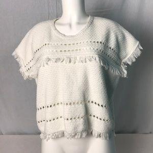 Madewell Short Sleeve Fringe Sweater Size Large